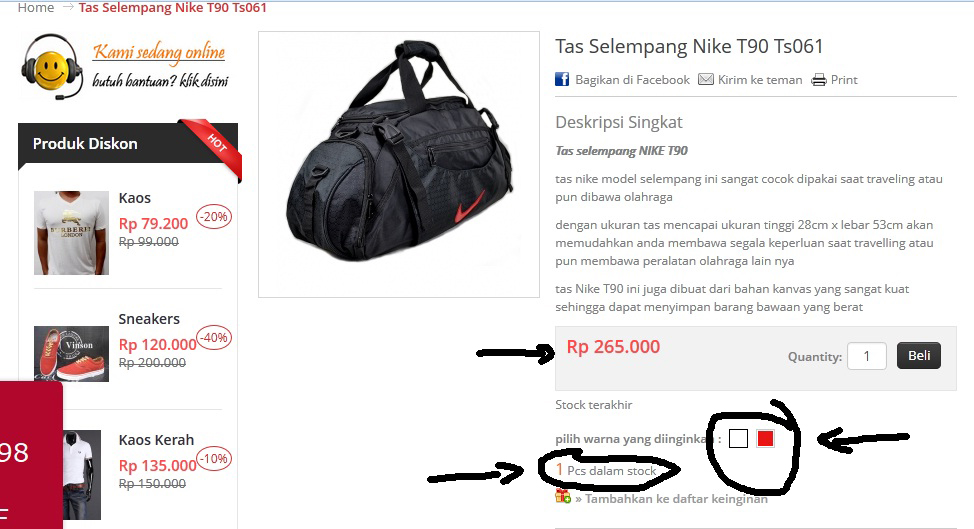 jual tas nike travel model selempang